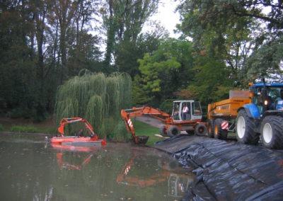 Curage d'un bassin et retraitement des boues